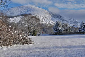 campsite in snowdonia in the winter snow